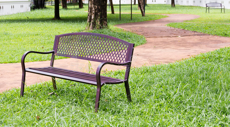 wooden park bench at the public park image royalty free stock image