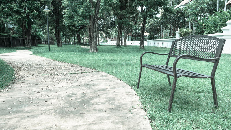 wooden park bench at the public park image stock photo