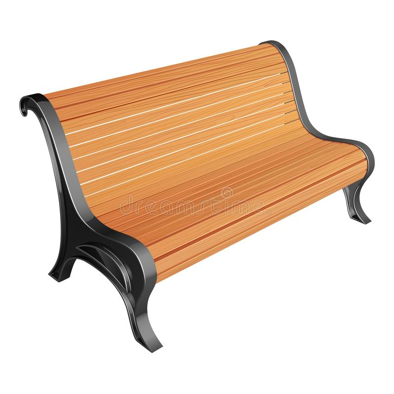 Wooden park bench of unpainted racks, on metal supports, with a curved back. Vector illustration stock illustration