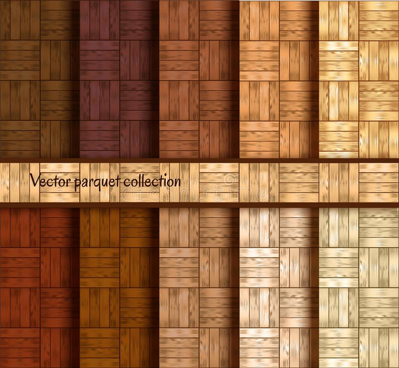 Wooden parquet patterns collection - realistic wood floor seamless texture. vector illustration