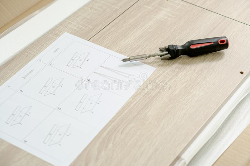 Wooden parts for DIY furniture. Concept royalty free stock photos