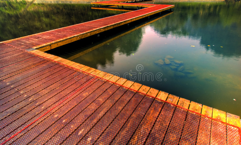 Wooden path by lake