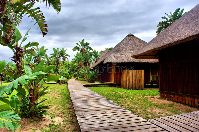 Wooden path runs among tropical chalets. Shot near Sodwana Bay nature reserve, KwaZulu-Natal province, Southern Mozambique area, South Africa royalty free stock photography