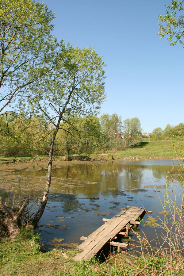 Wooden path on a rural pond royalty free stock photos
