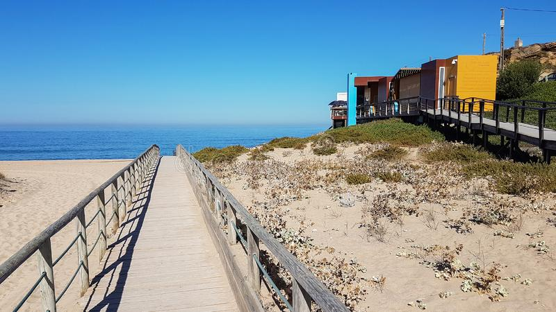 Wooden path on sand to sea. Vacation and rest on a beach concept. Summer, coast, dunes, over, ocean, landscape, water, travel, walkway, nature, boardwalk stock photos