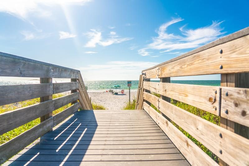 Wooden Boardwalk to Indian rocks beach in Florida, USA. Wooden path to Indian rocks beach in Florida, USA royalty free stock photography