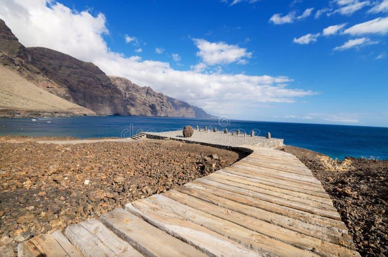 Wooden path walkway in Teno coast, Tenerife, Canary island, Spain. Wooden path walkway in Teno coast, Tenerife, Canary island, Spain stock image
