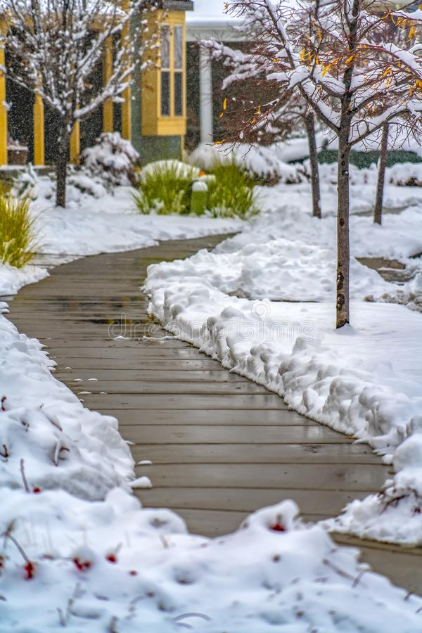 Wooden pathway of home in Utah viewed in winter. Wooden pathway curving on the snow covered yard of a home in Daybreak, Utah. The walkway lined with trees and royalty free stock image