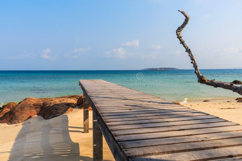 Wooden pathway at Mun Nork Island, Rayong Thailand stock images