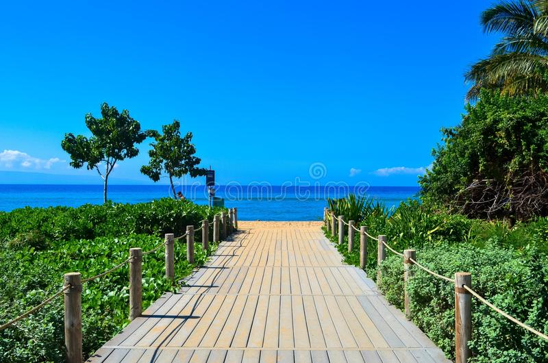 Wooden pathway towards the water and sky royalty free stock photos
