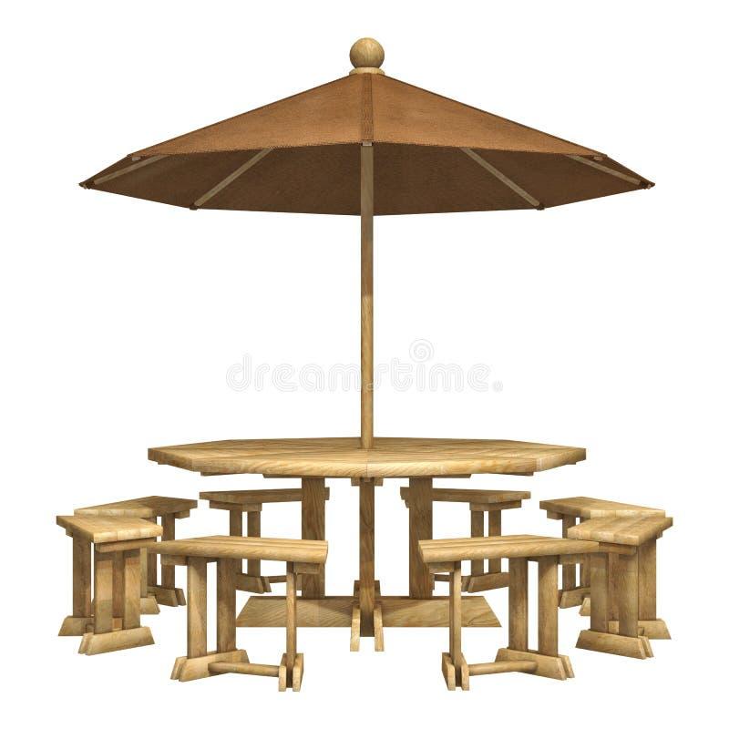 Download Wooden Patio Furniture stock illustration. Illustration of umbrella - 51323470  sc 1 st  Dreamstime.com & Wooden Patio Furniture stock illustration. Illustration of umbrella ...
