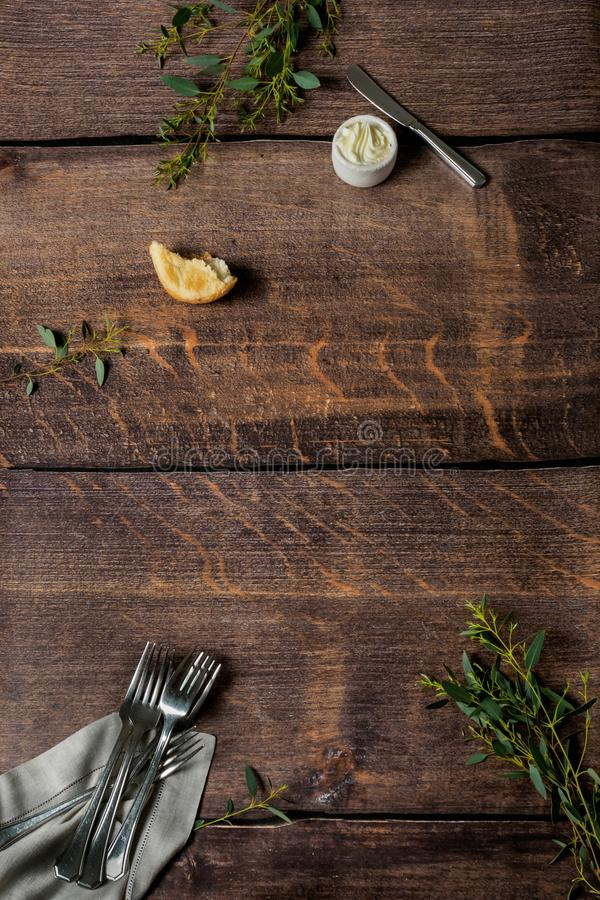 Wooden pattern with forks and butter royalty free stock images