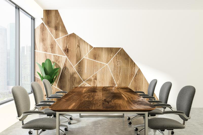 Wooden pattern and white boardroom interior royalty free illustration