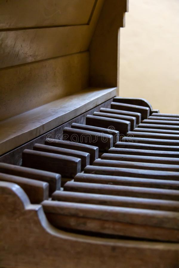 Pedalboard of a vintage pipe organ royalty free stock photo