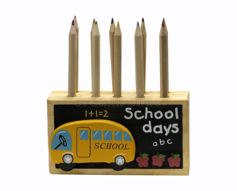 Download Wooden Pencil Holder stock image. Image of crayons, desk - 1141945