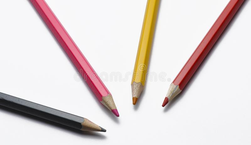 Wooden pencils isolated on white background. Colorful pens for school royalty free stock photos