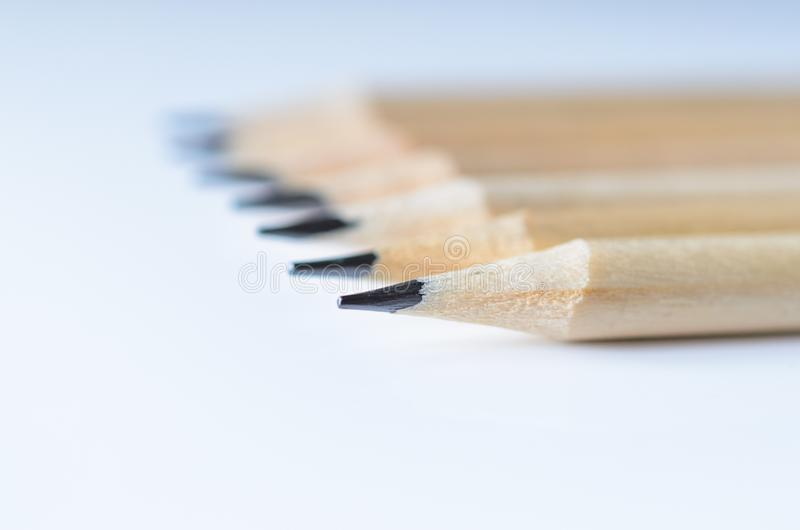 Wooden pencils for sketching and drawing closeup stock photos