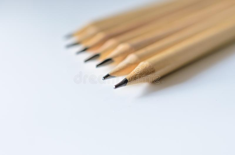 Wooden pencils for sketching and drawing closeup royalty free stock image