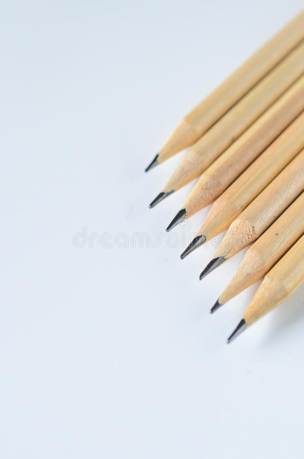 Wooden pencils for sketching and drawing closeup royalty free stock photo