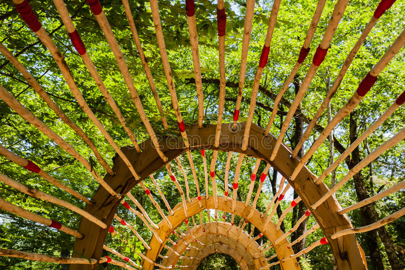 Wooden Pergola In French Garden Stock Photo - Image of beautiful ...