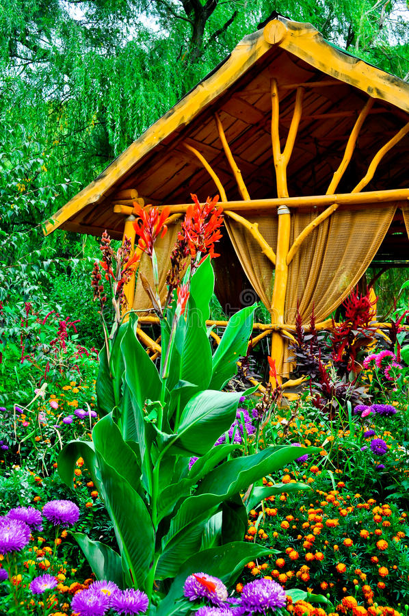 Download Wooden Pergola In The Greenery Stock Photo - Image of field, flower: 39504352