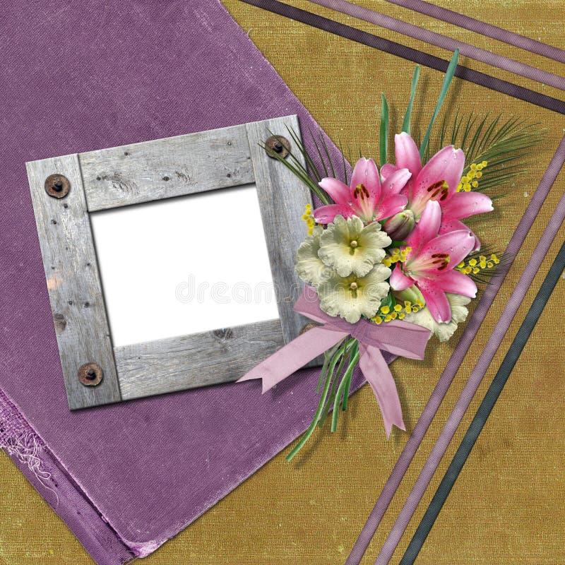 Wooden photo frame stock illustration