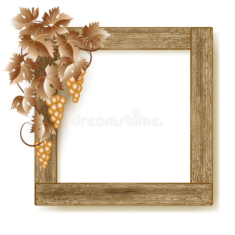 Wooden photo frame with grapes royalty free illustration
