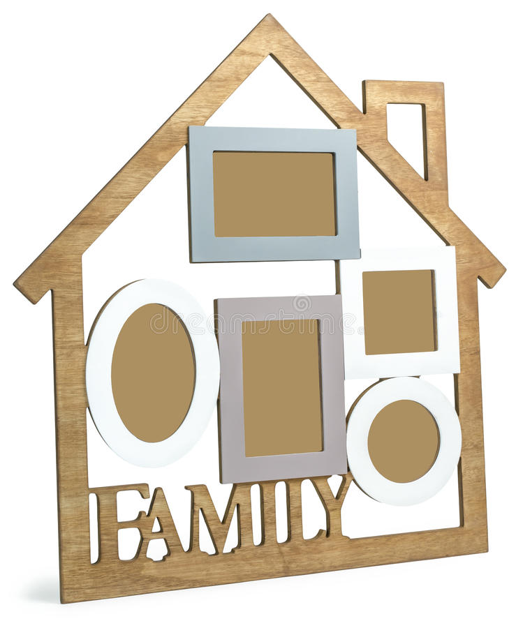 Wooden photo frame House with text Family stock illustration