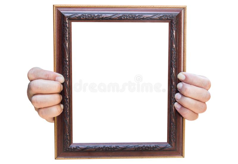 Wooden photo frame isolated on white background royalty free stock images