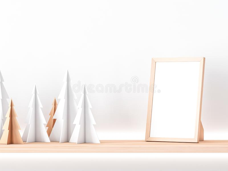 Wooden photo frame Mockup on shelf with paper christmas trees vector illustration