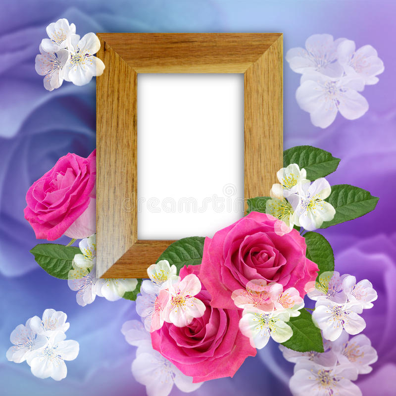 Wooden photo frame with roses royalty free illustration