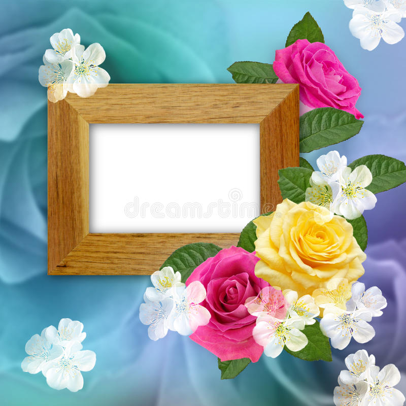Wooden photo frame with roses vector illustration