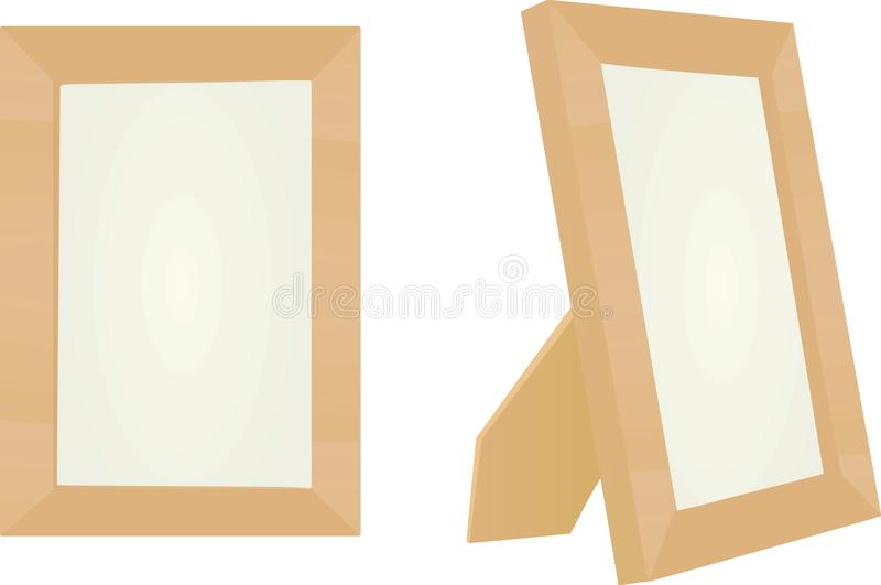 Wooden photo frame royalty free illustration