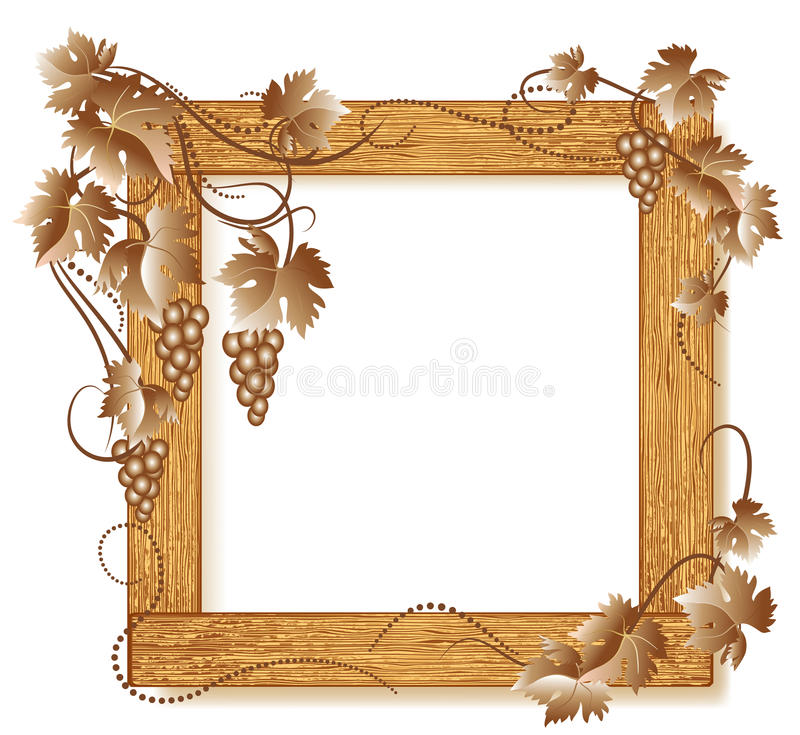 Wooden photo frames with grapes royalty free illustration
