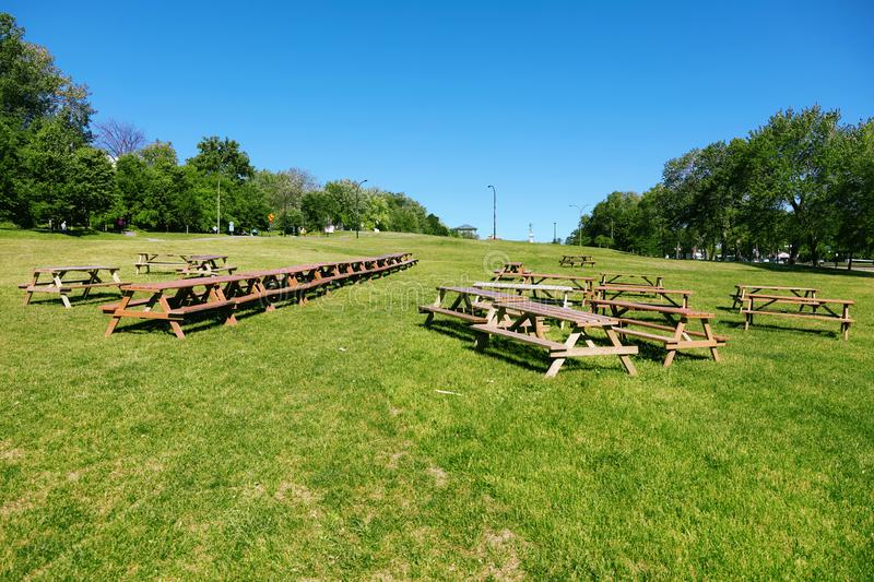 Wooden picnic tables on a green meadow field in the park. On a sunny summer day stock images