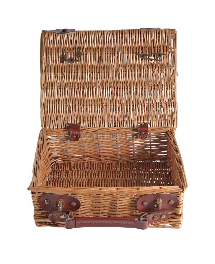 Wooden picnic wicker basket on white background. Wooden picnic wicker basket isolated on white background royalty free stock images