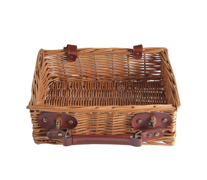 Wooden picnic wicker basket on white background. Wooden picnic wicker basket isolated on white background stock photography