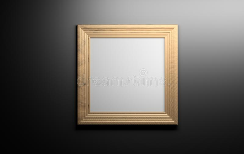 Wooden picture frame on black wall stock illustration