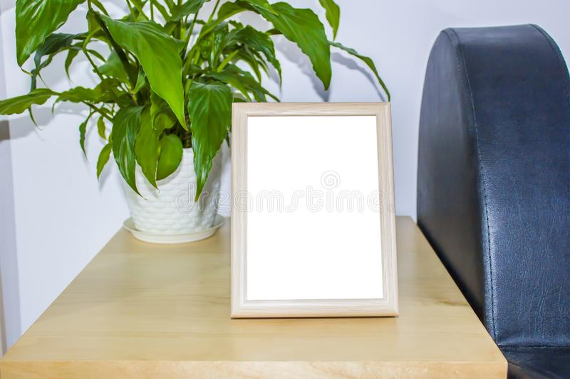 Wooden picture frame with decorations. Mock up for your photo or text Place your work, print art,shabby style, white royalty free stock images