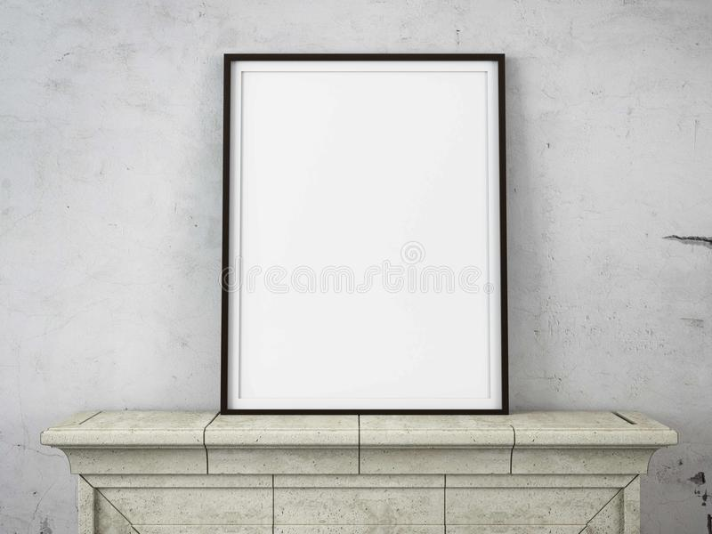 Wooden picture frame on a fireplace royalty free stock photo