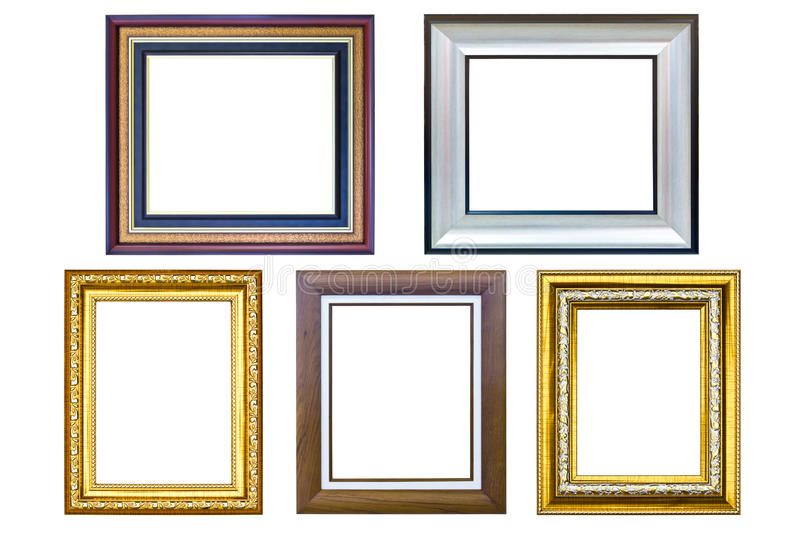 Wooden picture frame isolated stock photography