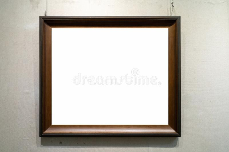 Wooden picture frame isolated stock images