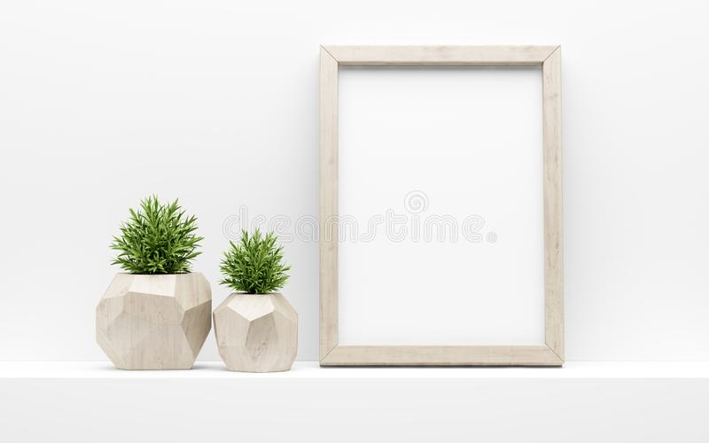 Picture frame mock up and green potted plants on white shelf. 3d illustration stock illustration