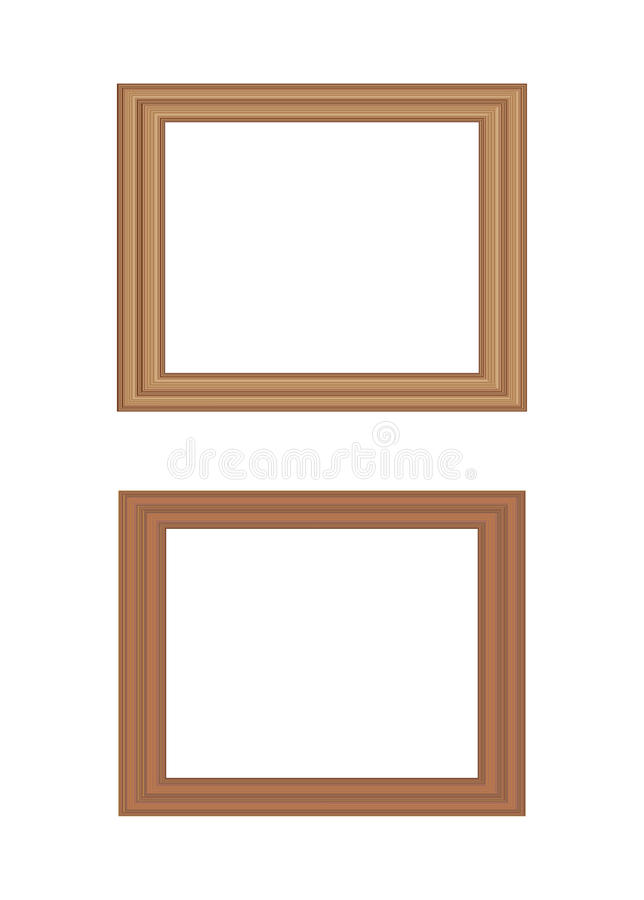 Wooden picture frames. Illustration of two rectangular wooden picture frames in different shades with copy space, isolated on white background stock illustration