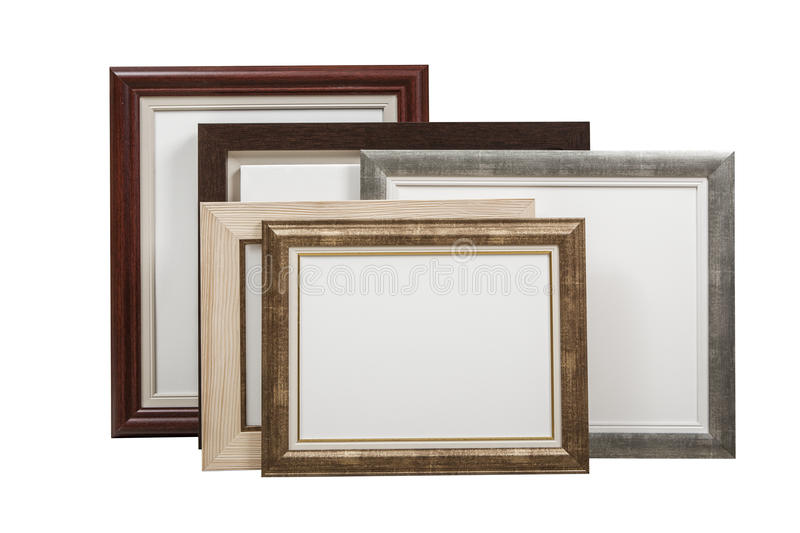 Wooden picture frames with blank canvas with clipping path stock photo