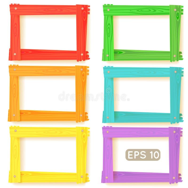 Wooden picture frames color set. For your web design vector illustration