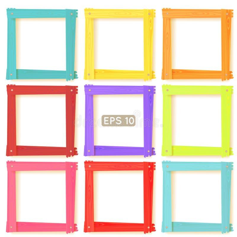 9 wooden picture frames color set. 9 wooden square picture frames color rainbow set for your web design stock illustration