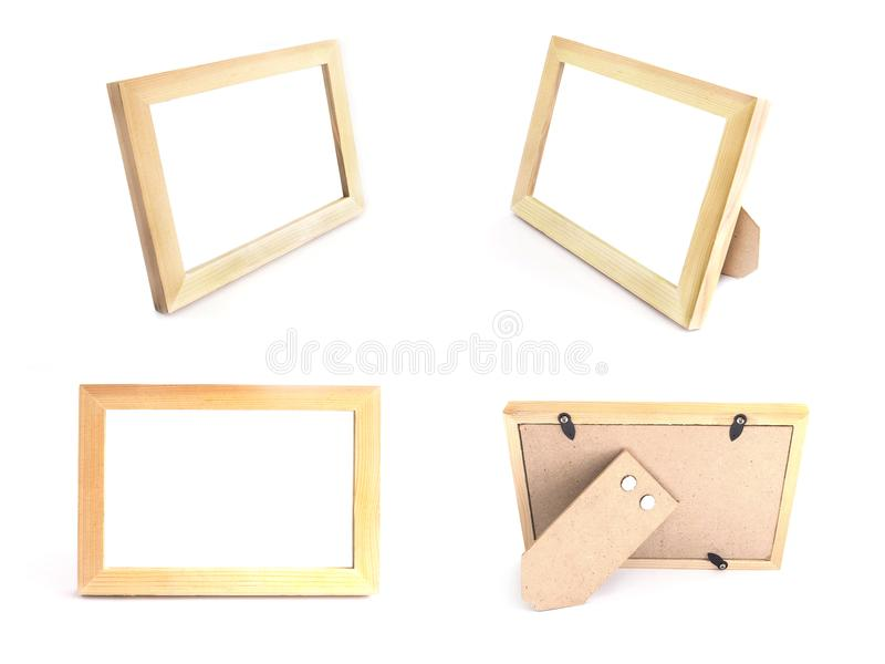 Wooden picture frames natural color for standing on table over w royalty free stock photo