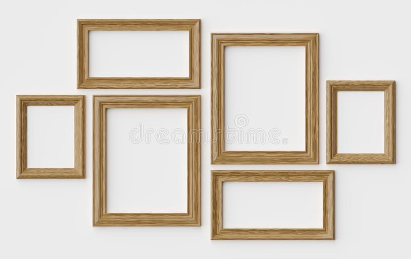 Wooden picture or photo frames on white wall with shadows vector illustration