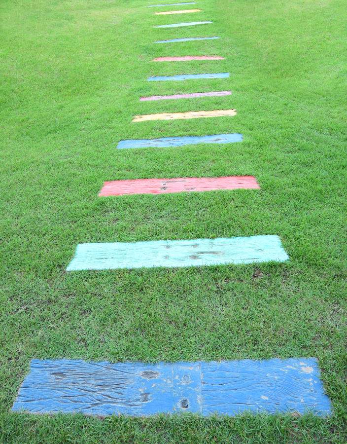 Wooden piece color path walk stock photography